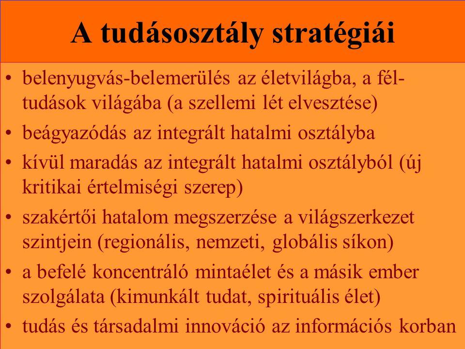 Varga Csaba102 A tudásosztály stratégiái •belenyugvás-belemerülés az életvilágba, a fél- tudások világába (a szellemi lét elvesztése) •beágyazódás az