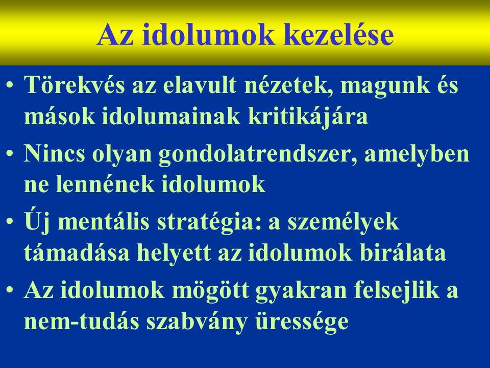 Varga Csaba15 Az idolumok kezelése •Törekvés az elavult nézetek, magunk és mások idolumainak kritikájára •Nincs olyan gondolatrendszer, amelyben ne le