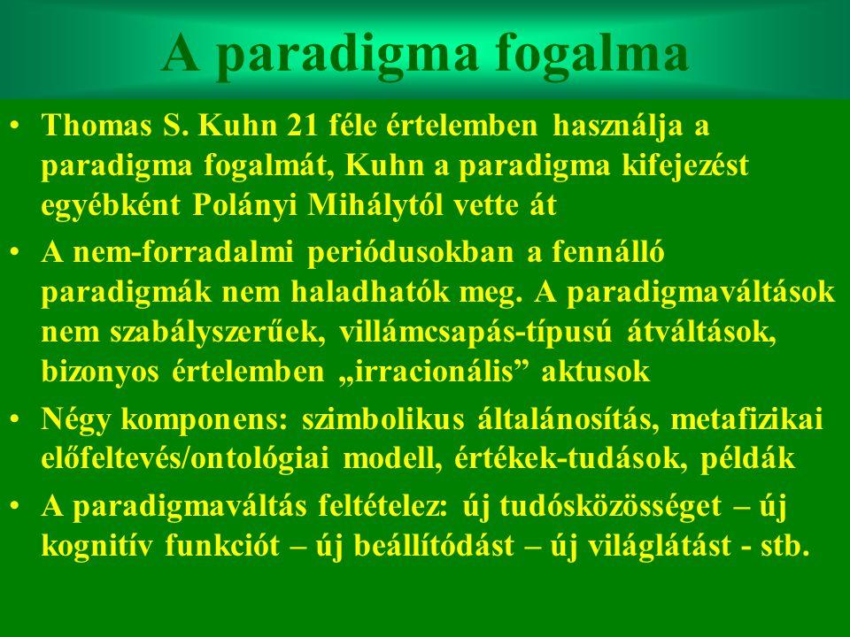 Varga Csaba17 A paradigma fogalma •Thomas S. Kuhn 21 féle értelemben használja a paradigma fogalmát, Kuhn a paradigma kifejezést egyébként Polányi Mih