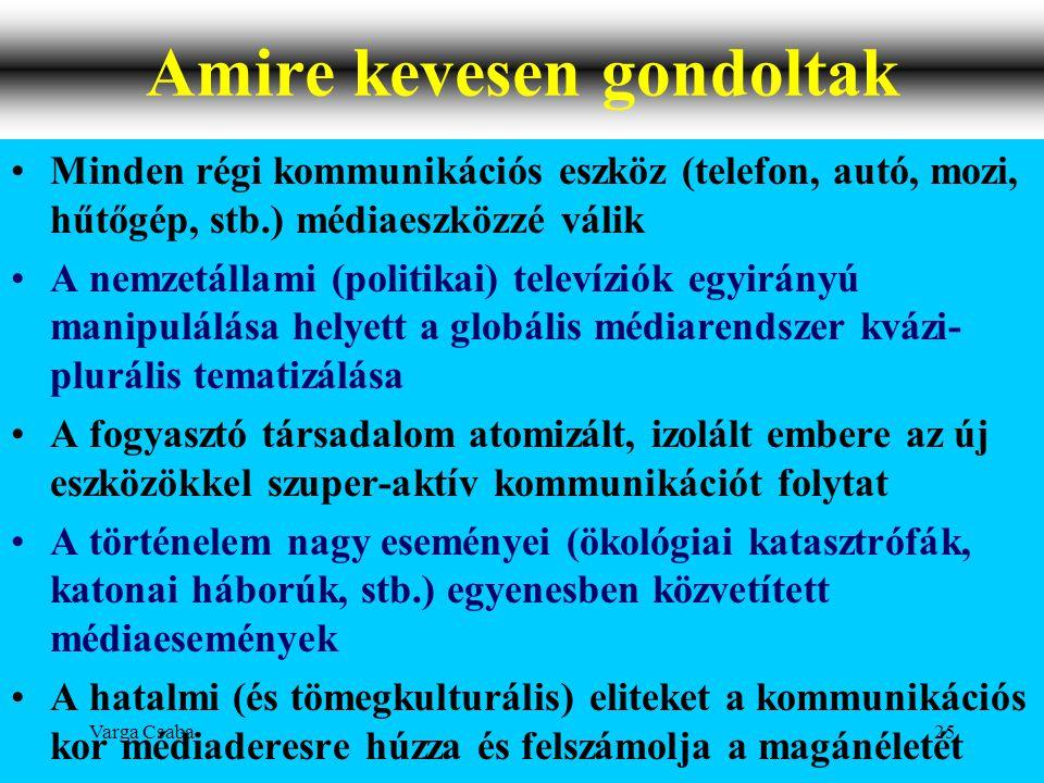 Varga Csaba25 Amire kevesen gondoltak •Minden régi kommunikációs eszköz (telefon, autó, mozi, hűtőgép, stb.) médiaeszközzé válik •A nemzetállami (poli