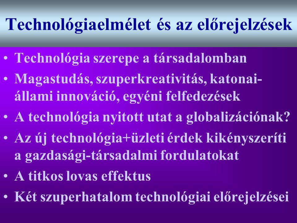 Varga Csaba27 Technológiaelmélet és az előrejelzések •Technológia szerepe a társadalomban •Magastudás, szuperkreativitás, katonai- állami innováció, e