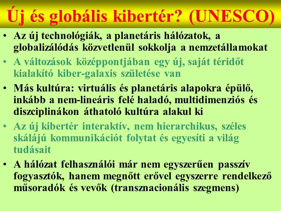 Varga Csaba28 Új és globális kibertér? (UNESCO) •Az új technológiák, a planetáris hálózatok, a globalizálódás közvetlenül sokkolja a nemzetállamokat •