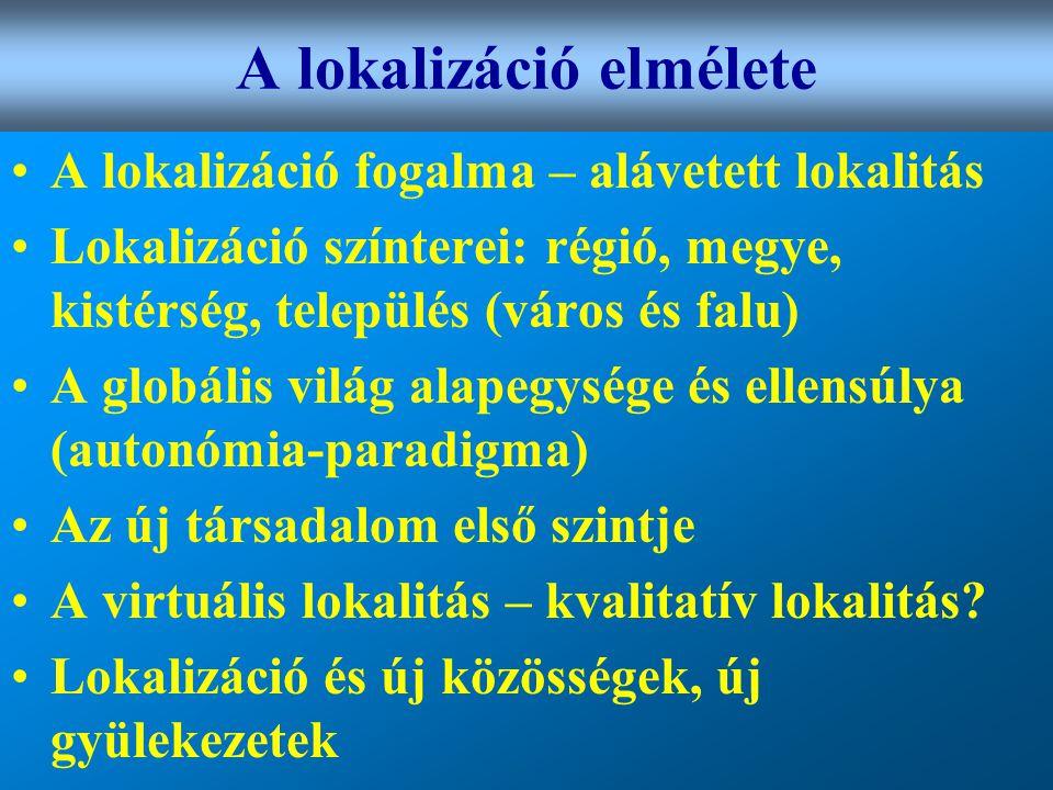 Varga Csaba33 A lokalizáció elmélete •A lokalizáció fogalma – alávetett lokalitás •Lokalizáció színterei: régió, megye, kistérség, település (város és