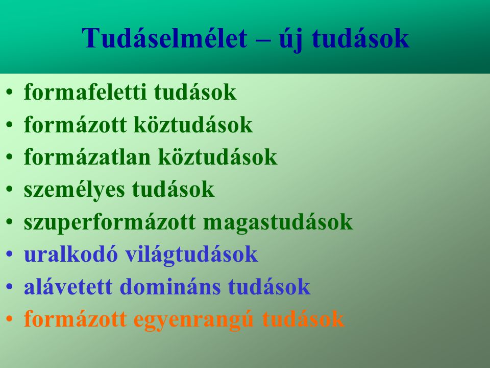 Varga Csaba39 Tudáselmélet – új tudások •formafeletti tudások •formázott köztudások •formázatlan köztudások •személyes tudások •szuperformázott magast