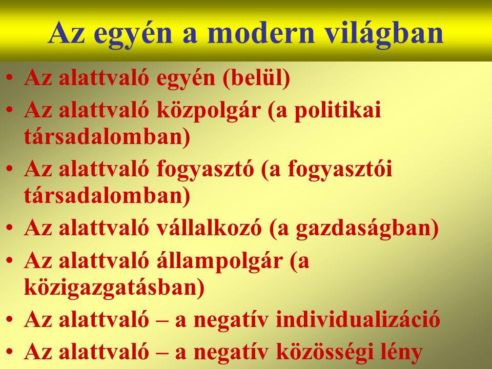 Varga Csaba42 Az egyén a modern világban •Az alattvaló egyén (belül) •Az alattvaló közpolgár (a politikai társadalomban) •Az alattvaló fogyasztó (a fo