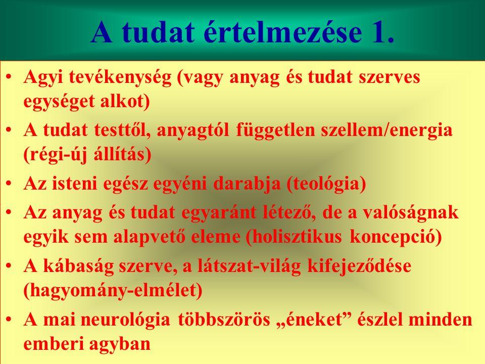 Varga Csaba45 A tudat értelmezése 1. •Agyi tevékenység (vagy anyag és tudat szerves egységet alkot) •A tudat testtől, anyagtól független szellem/energ