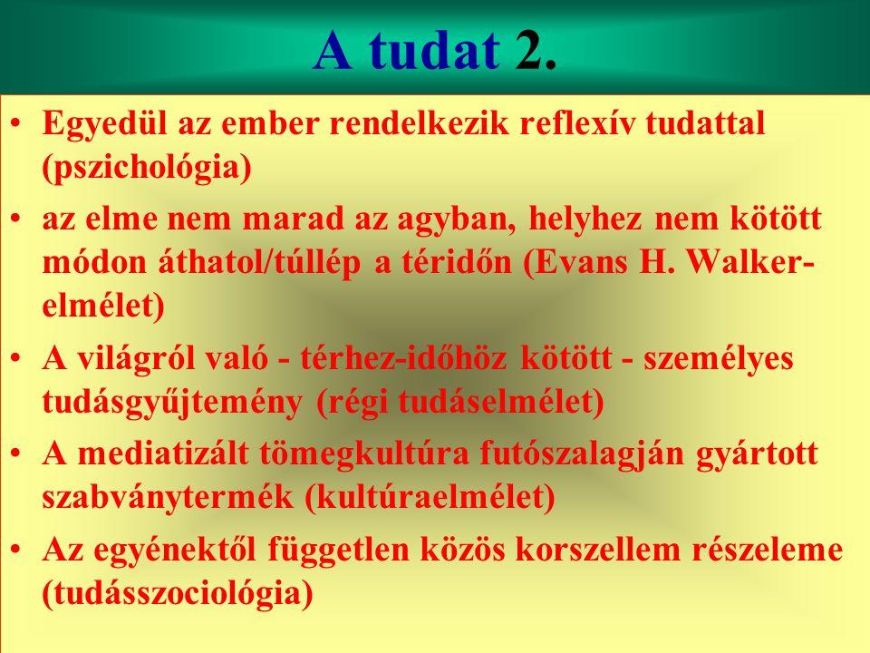 Varga Csaba46 A tudat 2. •Egyedül az ember rendelkezik reflexív tudattal (pszichológia) •az elme nem marad az agyban, helyhez nem kötött módon áthatol