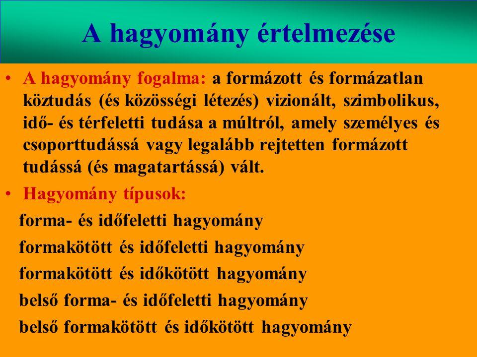 Varga Csaba47 A hagyomány értelmezése •A hagyomány fogalma: a formázott és formázatlan köztudás (és közösségi létezés) vizionált, szimbolikus, idő- és