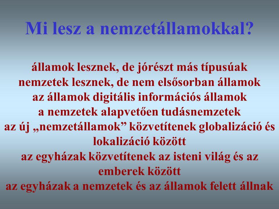 Varga Csaba49 Mi lesz a nemzetállamokkal? államok lesznek, de jórészt más típusúak nemzetek lesznek, de nem elsősorban államok az államok digitális in
