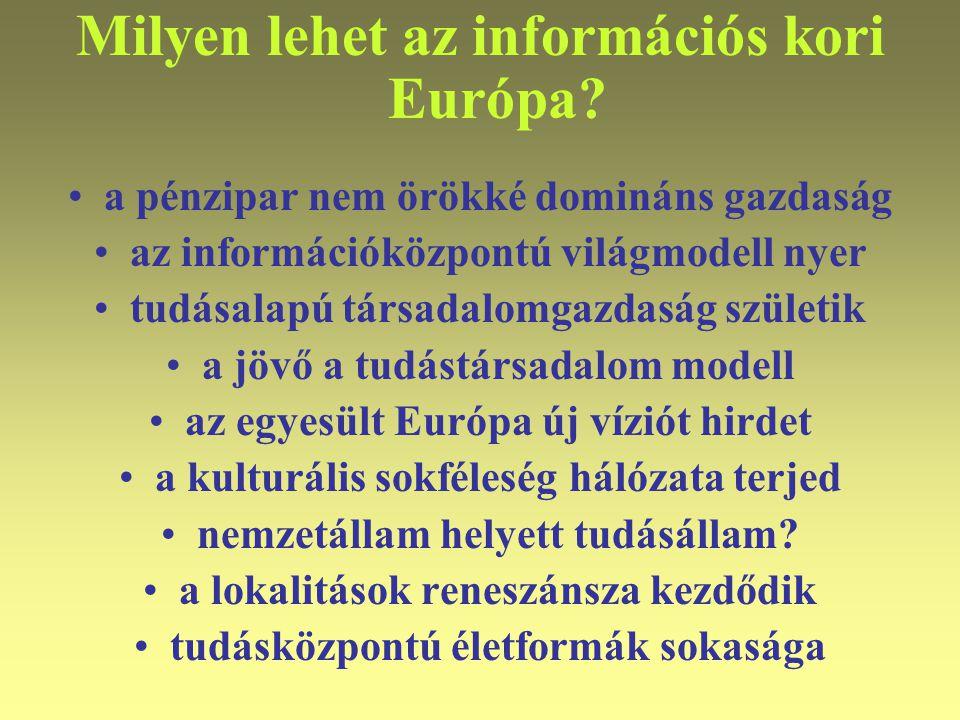 """Varga Csaba56 Az információs kor """"lépcsői Információs kor (1980-2050?) •információs társadalom / jeltársadalom (1990-2010-20) •tudástársadalom / döntéstársadalom (2000-2030-50) •tudattársadalom / valóság(át)alakító társadalom (2020-2050-70) Egységkor (2050-?) •egységtársadalom / ember-valóság, tudat és eszköz egységesülése (2050-2070-90)"""