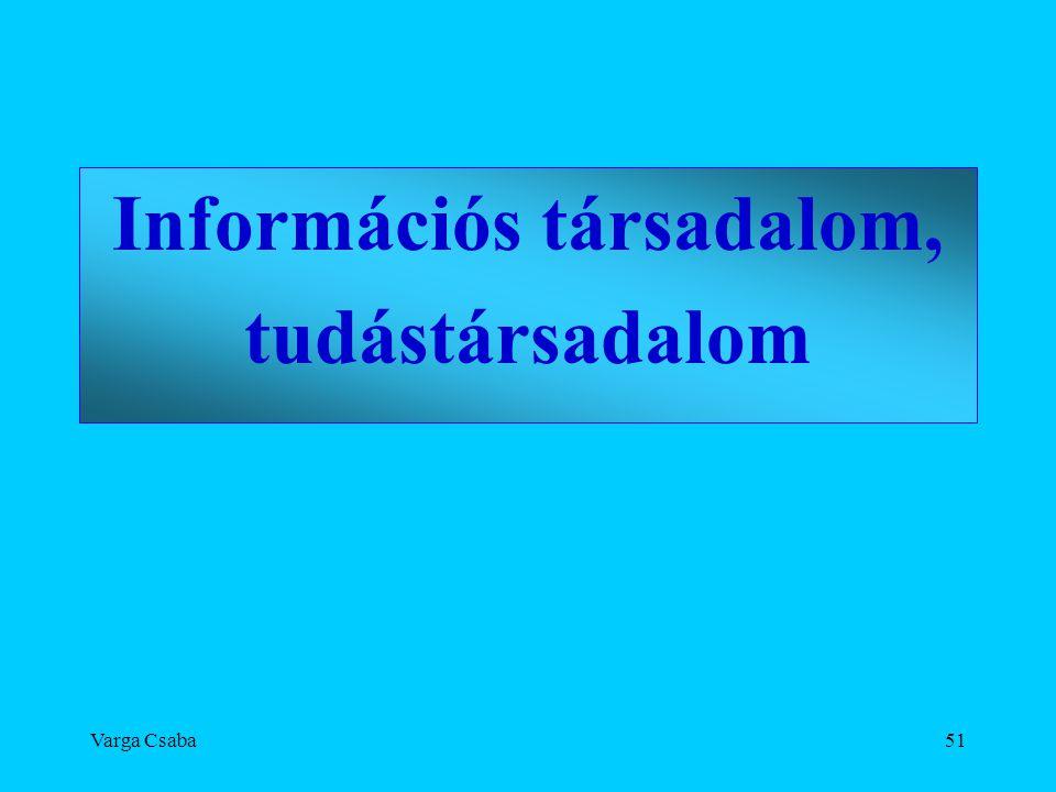 Varga Csaba51 Információs társadalom, tudástársadalom