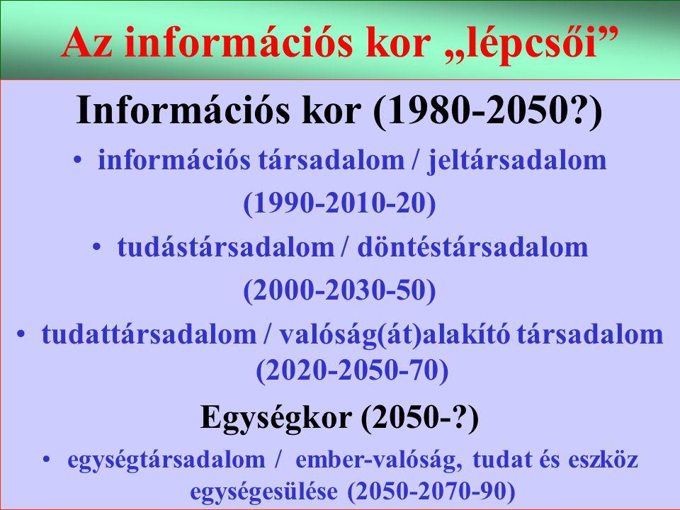 """Varga Csaba56 Az információs kor """"lépcsői"""" Információs kor (1980-2050?) •információs társadalom / jeltársadalom (1990-2010-20) •tudástársadalom / dönt"""