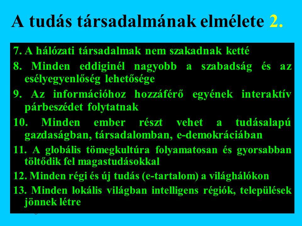 Varga Csaba62 A tudás társadalmának elmélete 2. 7. A hálózati társadalmak nem szakadnak ketté 8. Minden eddiginél nagyobb a szabadság és az esélyegyen