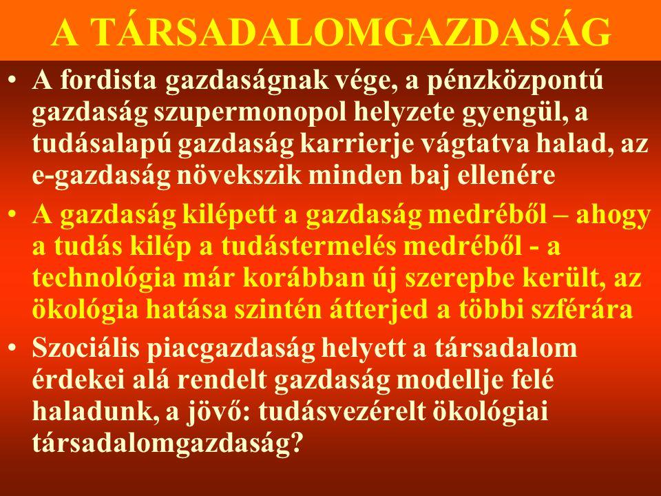 Varga Csaba66 A TÁRSADALOMGAZDASÁG •A fordista gazdaságnak vége, a pénzközpontú gazdaság szupermonopol helyzete gyengül, a tudásalapú gazdaság karrier