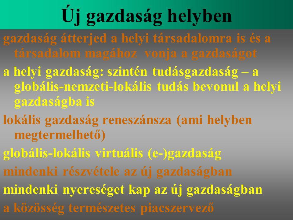 Varga Csaba67 Új gazdaság helyben gazdaság átterjed a helyi társadalomra is és a társadalom magához vonja a gazdaságot a helyi gazdaság: szintén tudás