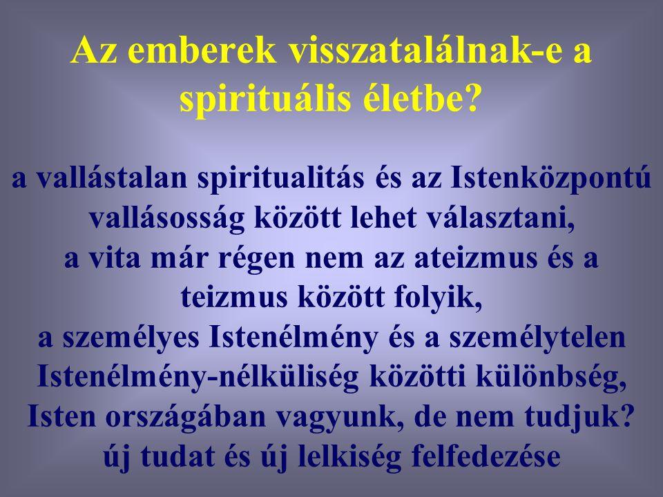 Varga Csaba7 Az emberek visszatalálnak-e a spirituális életbe? a vallástalan spiritualitás és az Istenközpontú vallásosság között lehet választani, a
