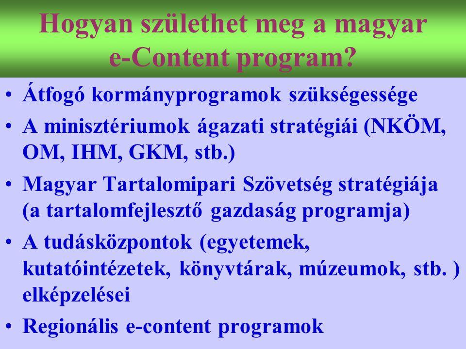Varga Csaba72 Hogyan születhet meg a magyar e-Content program? •Átfogó kormányprogramok szükségessége •A minisztériumok ágazati stratégiái (NKÖM, OM,