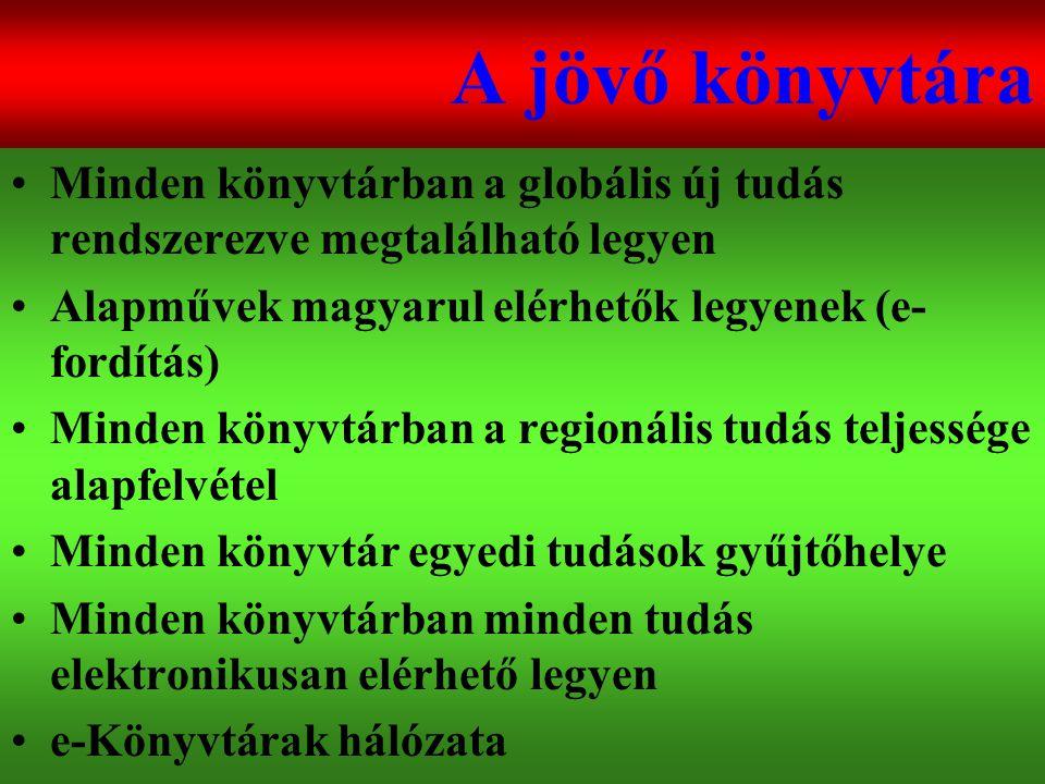 Varga Csaba77 A jövő könyvtára •Minden könyvtárban a globális új tudás rendszerezve megtalálható legyen •Alapművek magyarul elérhetők legyenek (e- for
