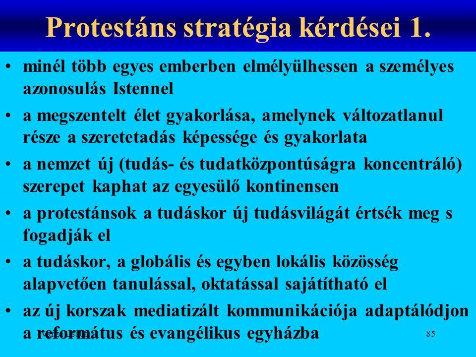 Varga Csaba85 Protestáns stratégia kérdései 1. •minél több egyes emberben elmélyülhessen a személyes azonosulás Istennel •a megszentelt élet gyakorlás