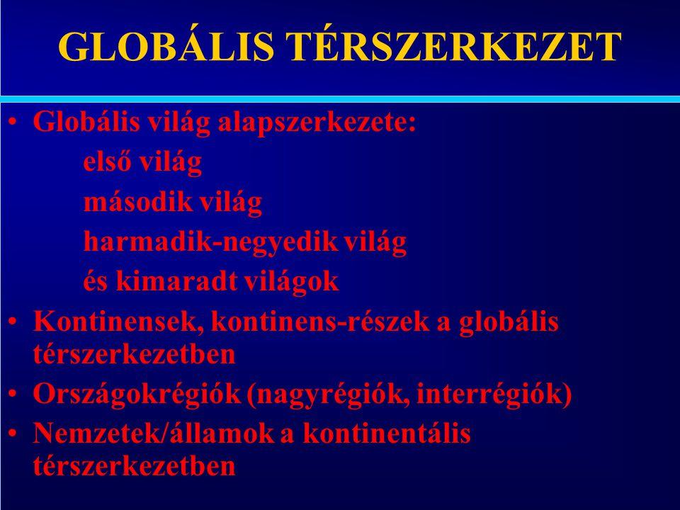 Varga Csaba95 GLOBÁLIS TÉRSZERKEZET •Globális világ alapszerkezete: első világ második világ harmadik-negyedik világ és kimaradt világok •Kontinensek,