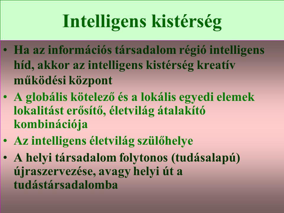 Varga Csaba99 Intelligens kistérség •Ha az információs társadalom régió intelligens híd, akkor az intelligens kistérség kreatív működési központ •A gl