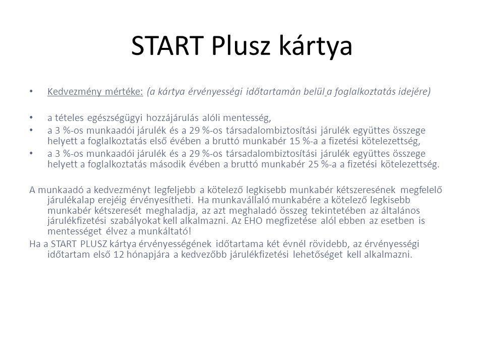 START Plusz kártya • Kedvezmény mértéke: (a kártya érvényességi időtartamán belül a foglalkoztatás idejére) • a tételes egészségügyi hozzájárulás alóli mentesség, • a 3 %-os munkaadói járulék és a 29 %-os társadalombiztosítási járulék együttes összege helyett a foglalkoztatás első évében a bruttó munkabér 15 %-a a fizetési kötelezettség, • a 3 %-os munkaadói járulék és a 29 %-os társadalombiztosítási járulék együttes összege helyett a foglalkoztatás második évében a bruttó munkabér 25 %-a a fizetési kötelezettség.