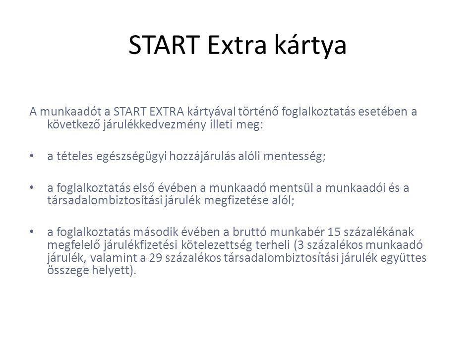 START Extra kártya A munkaadót a START EXTRA kártyával történő foglalkoztatás esetében a következő járulékkedvezmény illeti meg: • a tételes egészségügyi hozzájárulás alóli mentesség; • a foglalkoztatás első évében a munkaadó mentsül a munkaadói és a társadalombiztosítási járulék megfizetése alól; • a foglalkoztatás második évében a bruttó munkabér 15 százalékának megfelelő járulékfizetési kötelezettség terheli (3 százalékos munkaadó járulék, valamint a 29 százalékos társadalombiztosítási járulék együttes összege helyett).