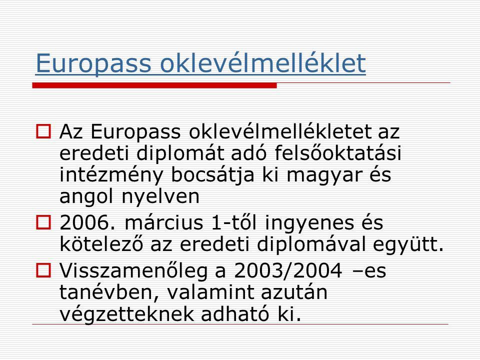 Europass oklevélmelléklet  Az Europass oklevélmellékletet az eredeti diplomát adó felsőoktatási intézmény bocsátja ki magyar és angol nyelven  2006.