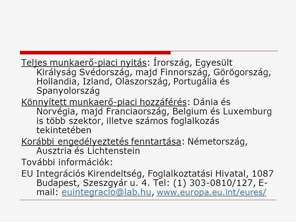 Ausztria: kétoldalú foglalkoztatási megállapodás (kvótákkal) Ausztria – gyakornoki munkavállalás (1800 fő)  Minimum 6 hó max 1 év  18-35 év közötti életkor  magyar állampolgárság  szakképesítés vagy legalább kétéves igazolt jártasság egy adott szakmában  a munkakör ellátásához szükséges német nyelvismeret Ingázói egyezmény (2200 fő) 2006.05.01.-től változás: Az EU8 tagállamok már Ausztriában dolgozó állampolgárainak családtagjai automatikusan megkapják a munkavállalási és tartózkodási engedélyt.
