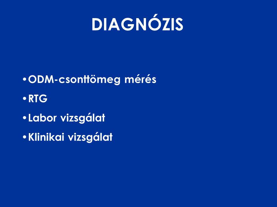DIAGNÓZIS • ODM-csonttömeg mérés • RTG • Labor vizsgálat • Klinikai vizsgálat