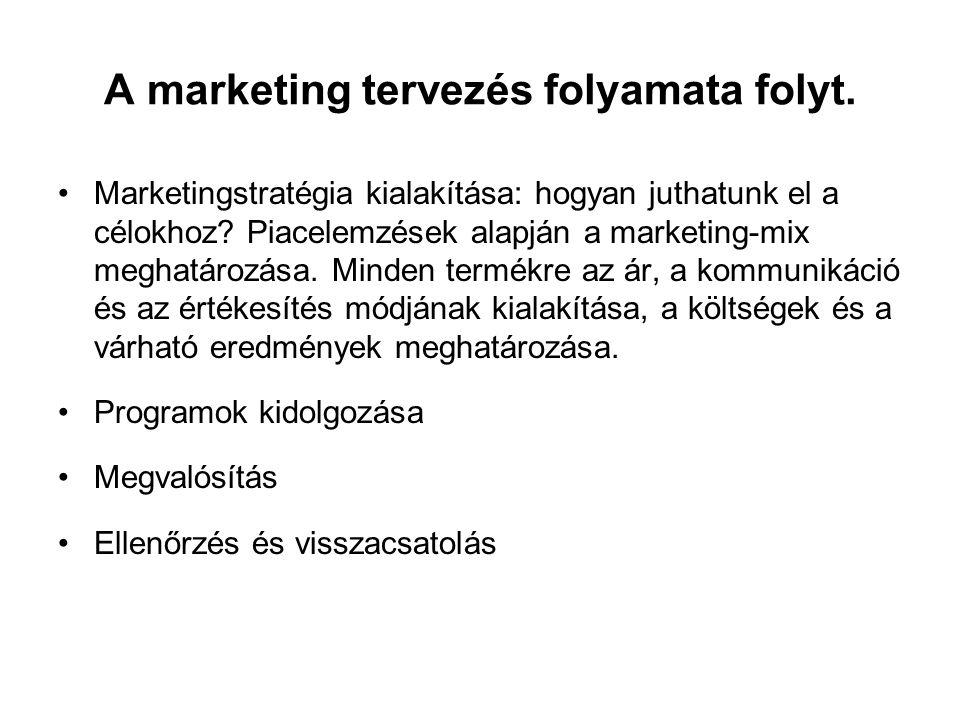 A marketing tervezés folyamata folyt. •Marketingstratégia kialakítása: hogyan juthatunk el a célokhoz? Piacelemzések alapján a marketing-mix meghatáro