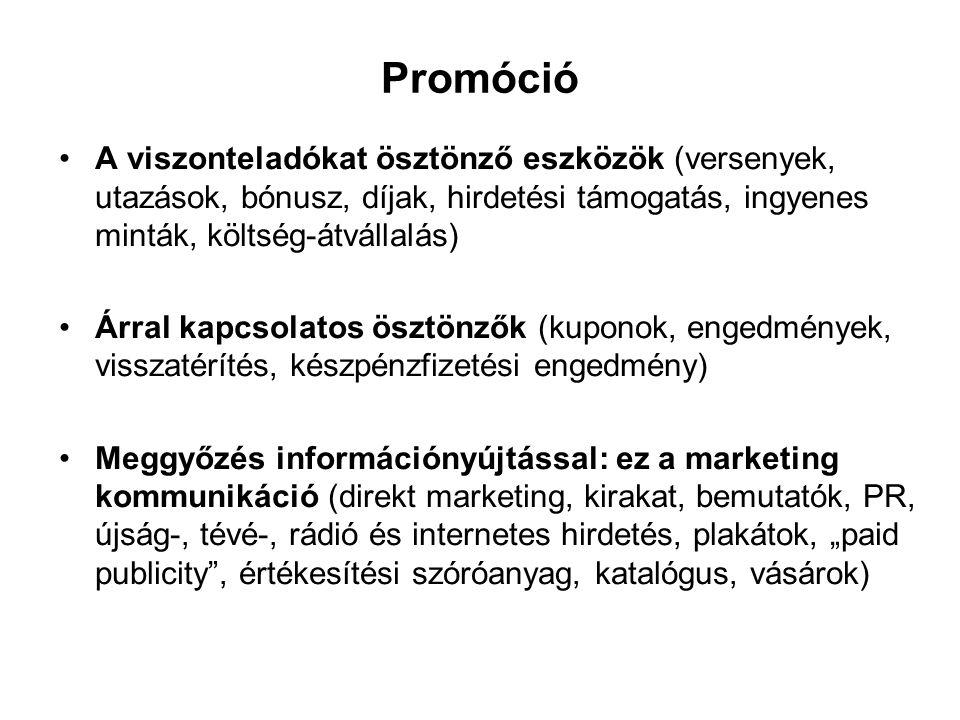 """Promóció •A viszonteladókat ösztönző eszközök (versenyek, utazások, bónusz, díjak, hirdetési támogatás, ingyenes minták, költség-átvállalás) •Árral kapcsolatos ösztönzők (kuponok, engedmények, visszatérítés, készpénzfizetési engedmény) •Meggyőzés információnyújtással: ez a marketing kommunikáció (direkt marketing, kirakat, bemutatók, PR, újság-, tévé-, rádió és internetes hirdetés, plakátok, """"paid publicity , értékesítési szóróanyag, katalógus, vásárok)"""