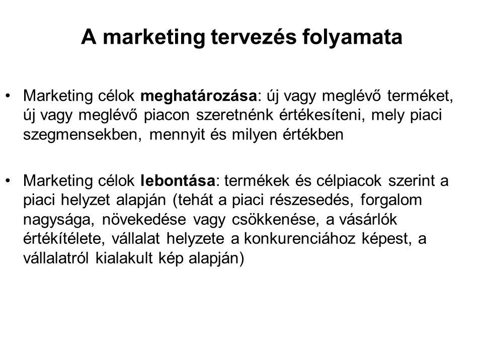 A marketing tervezés folyamata •Marketing célok meghatározása: új vagy meglévő terméket, új vagy meglévő piacon szeretnénk értékesíteni, mely piaci szegmensekben, mennyit és milyen értékben •Marketing célok lebontása: termékek és célpiacok szerint a piaci helyzet alapján (tehát a piaci részesedés, forgalom nagysága, növekedése vagy csökkenése, a vásárlók értékítélete, vállalat helyzete a konkurenciához képest, a vállalatról kialakult kép alapján)