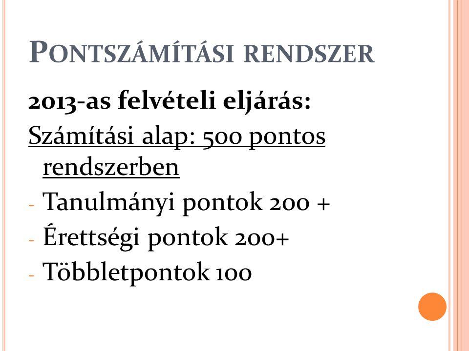 P ONTSZÁMÍTÁSI RENDSZER 2013-as felvételi eljárás: Számítási alap: 500 pontos rendszerben - Tanulmányi pontok 200 + - Érettségi pontok 200+ - Többletpontok 100