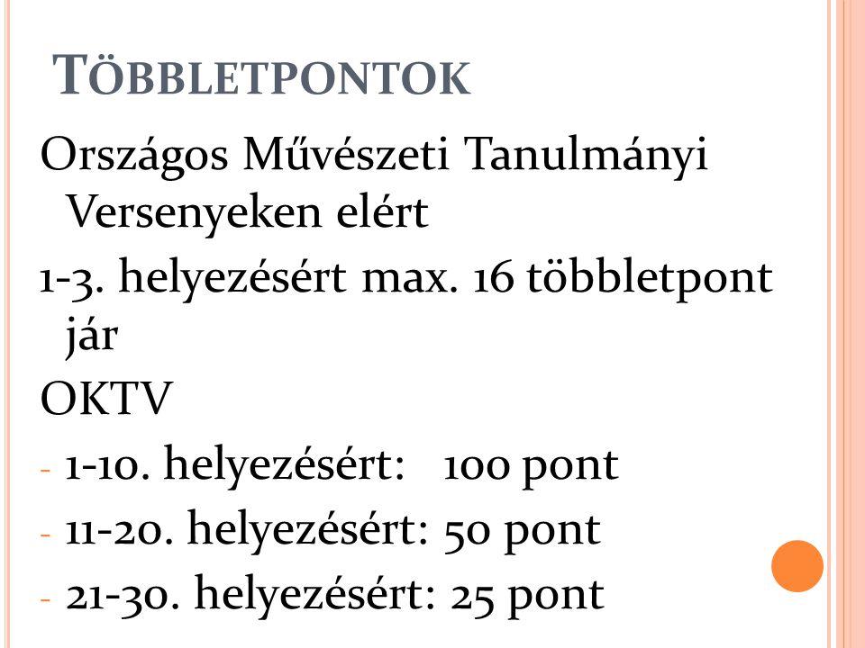 T ÖBBLETPONTOK Országos Művészeti Tanulmányi Versenyeken elért 1-3. helyezésért max. 16 többletpont jár OKTV - 1-10. helyezésért: 100 pont - 11-20. he