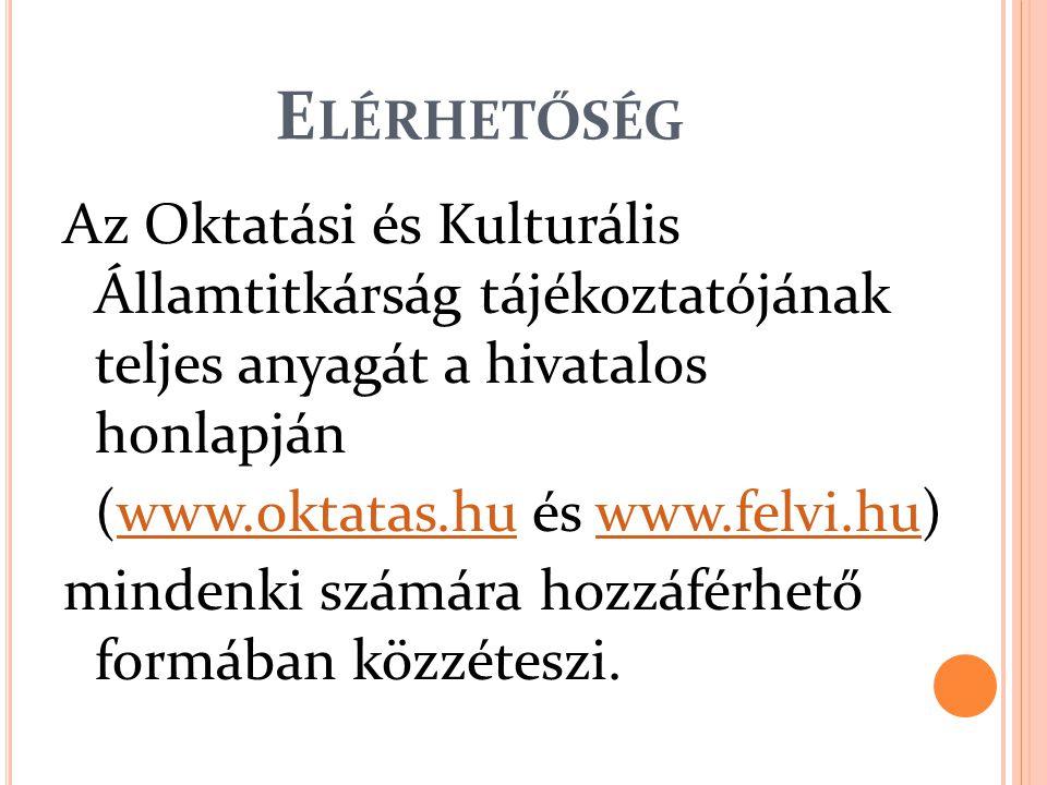 E LÉRHETŐSÉG Az Oktatási és Kulturális Államtitkárság tájékoztatójának teljes anyagát a hivatalos honlapján (www.oktatas.hu és www.felvi.hu)www.felvi.hu mindenki számára hozzáférhető formában közzéteszi.