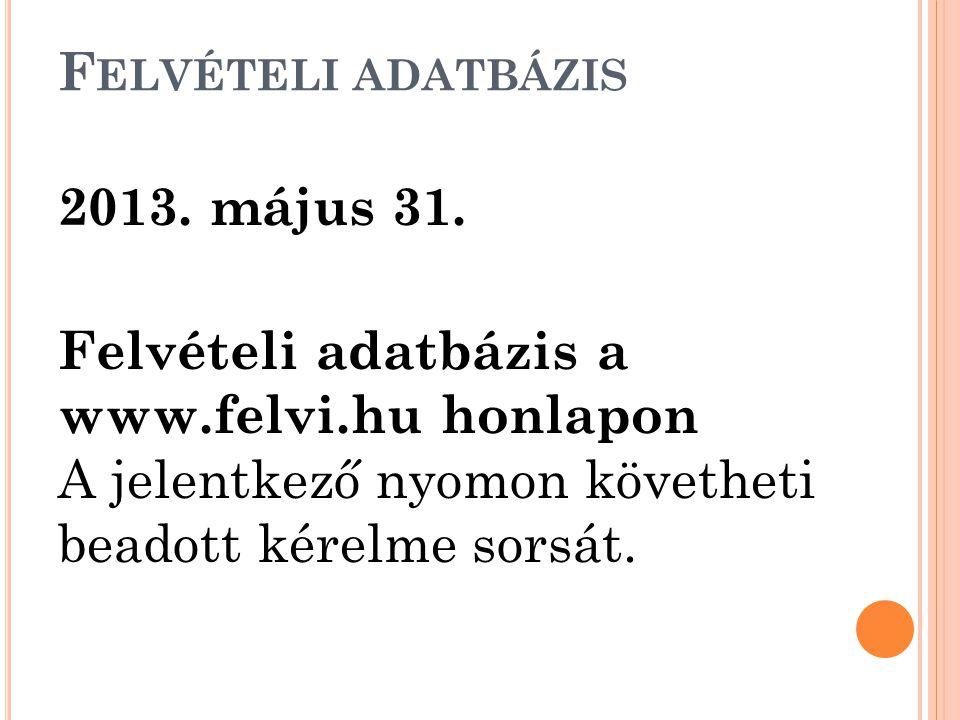 F ELVÉTELI ADATBÁZIS 2013. május 31. Felvételi adatbázis a www.felvi.hu honlapon A jelentkező nyomon követheti beadott kérelme sorsát.