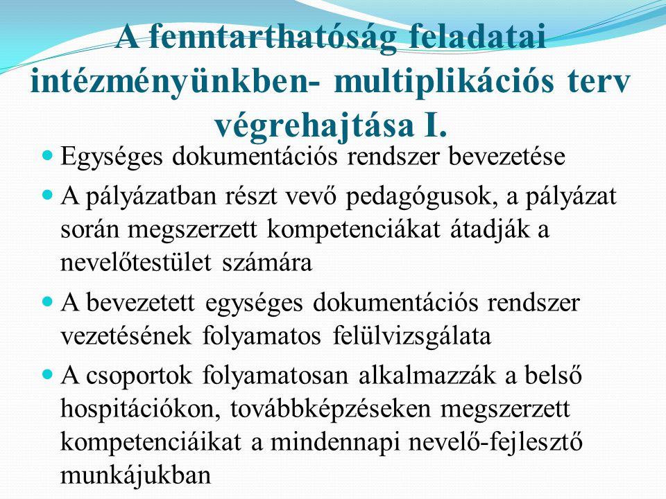 A fenntarthatóság feladatai intézményünkben- multiplikációs terv végrehajtása I.