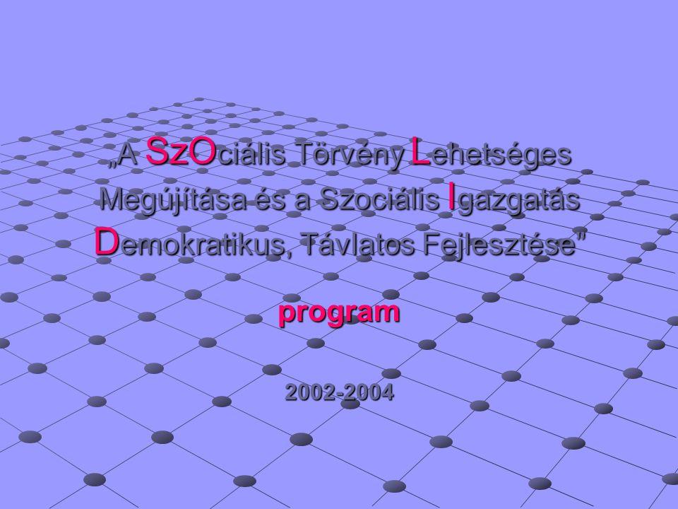"""""""A SzO ciális Törvény L ehetséges Megújítása és a Szociális I gazgatás D emokratikus, Távlatos Fejlesztése program2002-2004"""