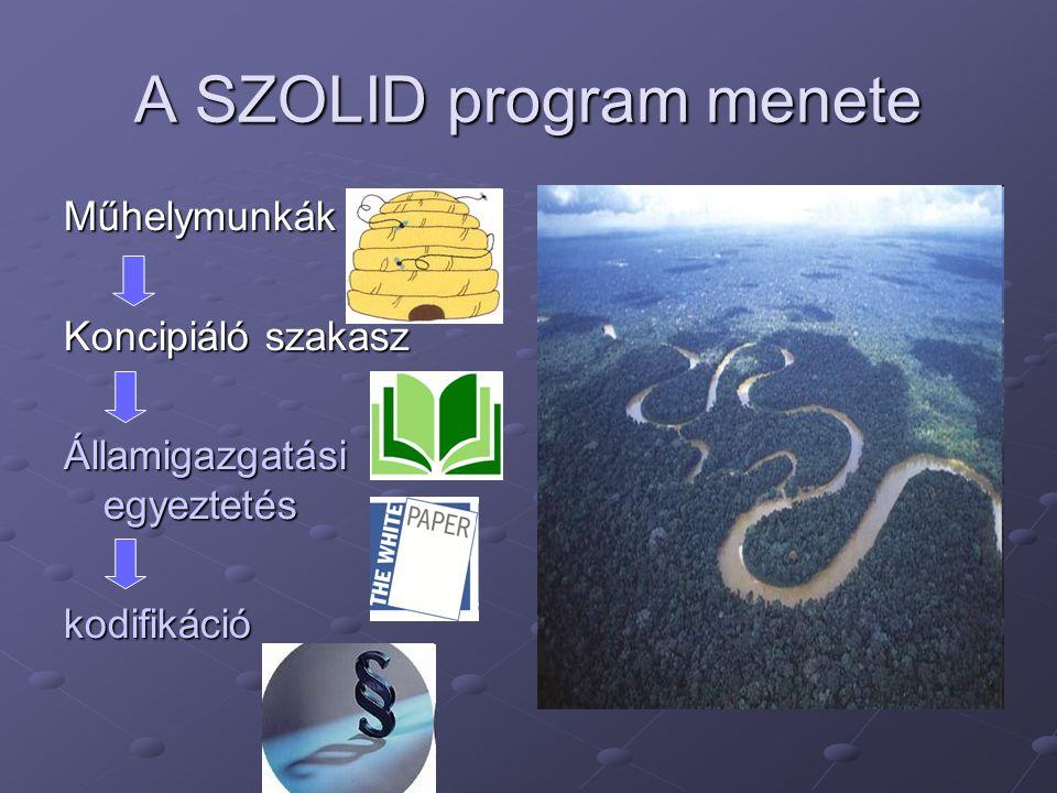 A SZOLID program menete Műhelymunkák Koncipiáló szakasz Államigazgatási egyeztetés kodifikáció