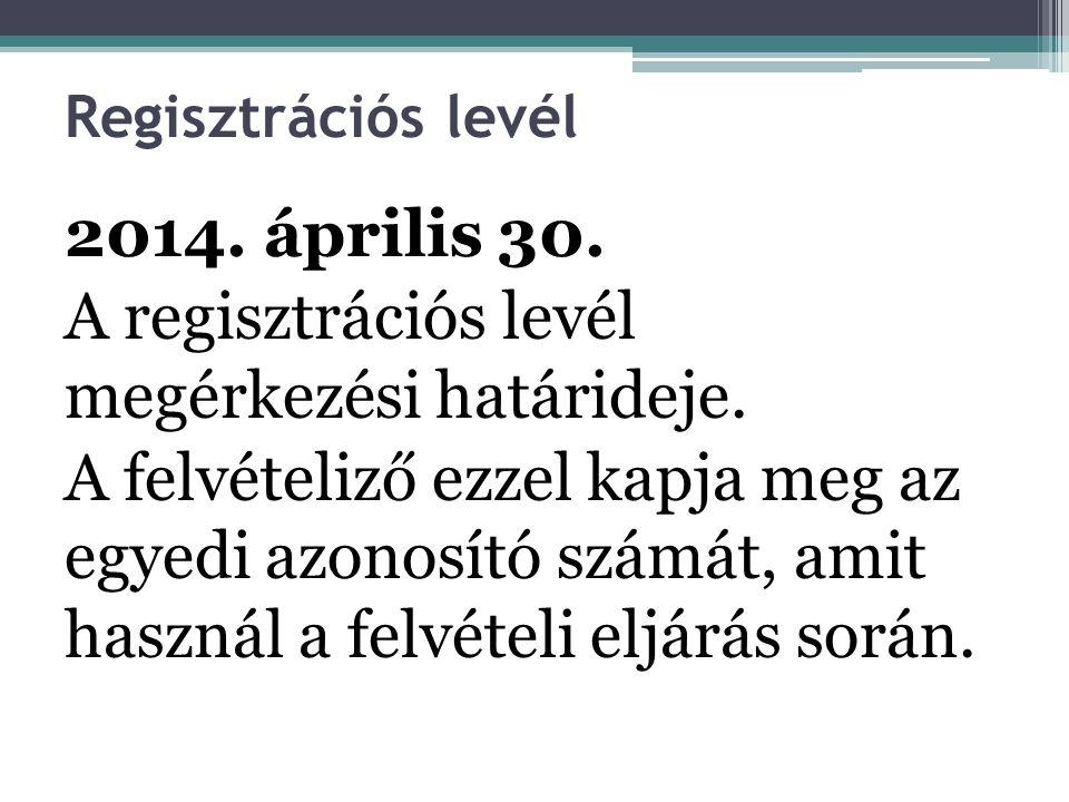 Regisztrációs levél 2014. április 30. A regisztrációs levél megérkezési határideje.