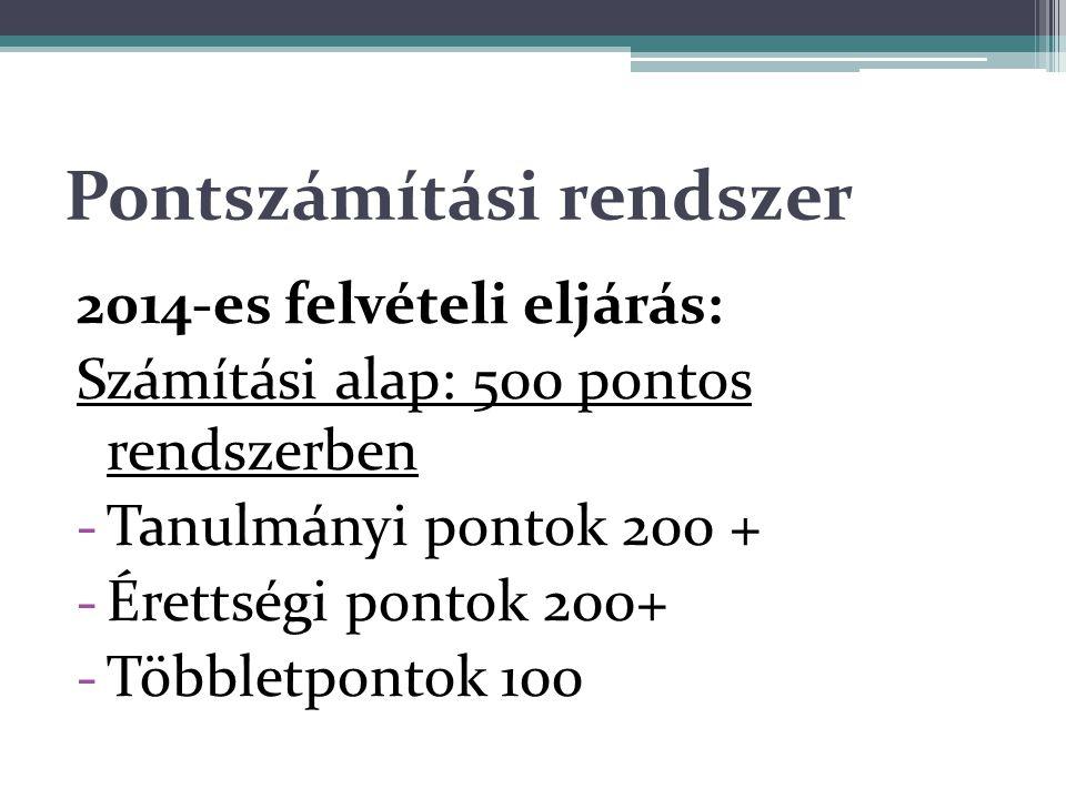 Pontszámítási rendszer 2014-es felvételi eljárás: Számítási alap: 500 pontos rendszerben -Tanulmányi pontok 200 + -Érettségi pontok 200+ -Többletpontok 100