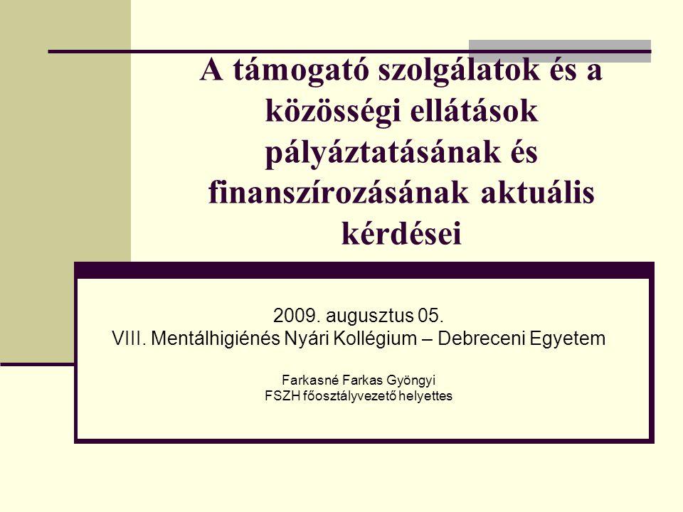 A támogató szolgálatok és a közösségi ellátások pályáztatásának és finanszírozásának aktuális kérdései 2009.