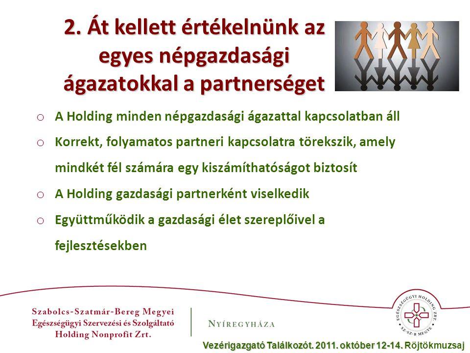2. Át kellett értékelnünk az egyes népgazdasági ágazatokkal a partnerséget o A Holding minden népgazdasági ágazattal kapcsolatban áll o Korrekt, folya