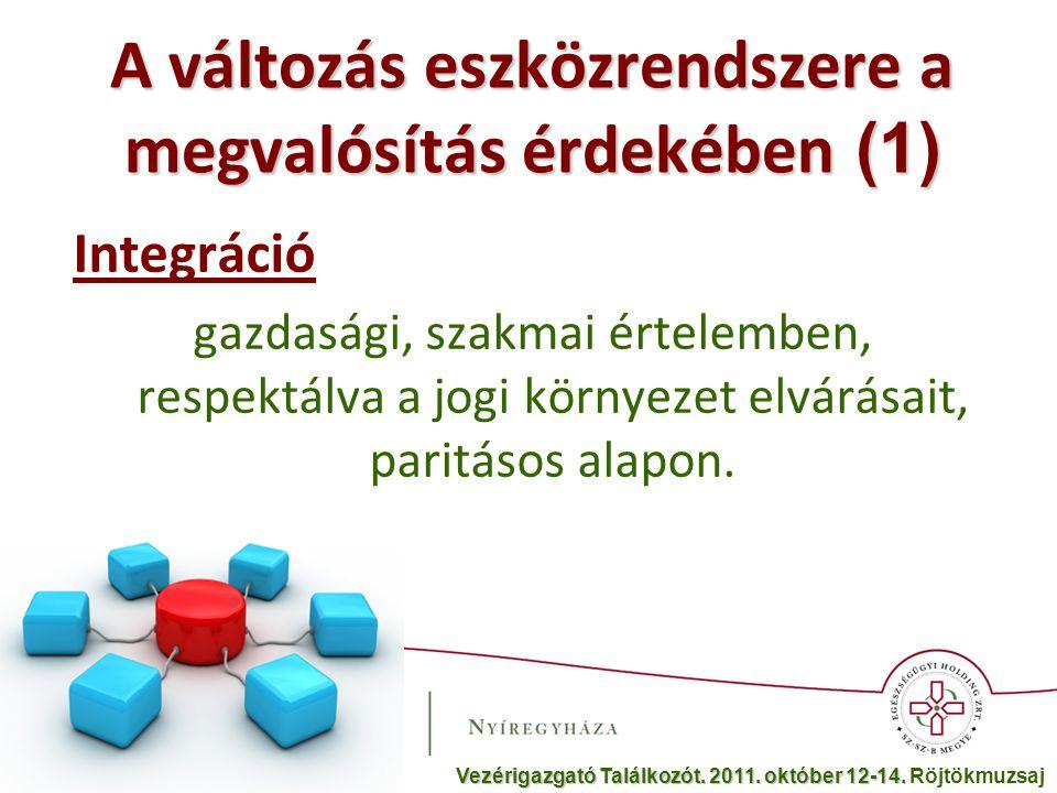 A változás eszközrendszere a megvalósítás érdekében (2) Üzemszerű működést kell megvalósítani, ennek fő elemei: - Vezetői irányítási rendszer (VIR) - Egységes háttérszolgálat - A klinikai és gazdasági rendszer egységesítése - A folyamatok indikátorainak képzése és az értékelések után módosítása.