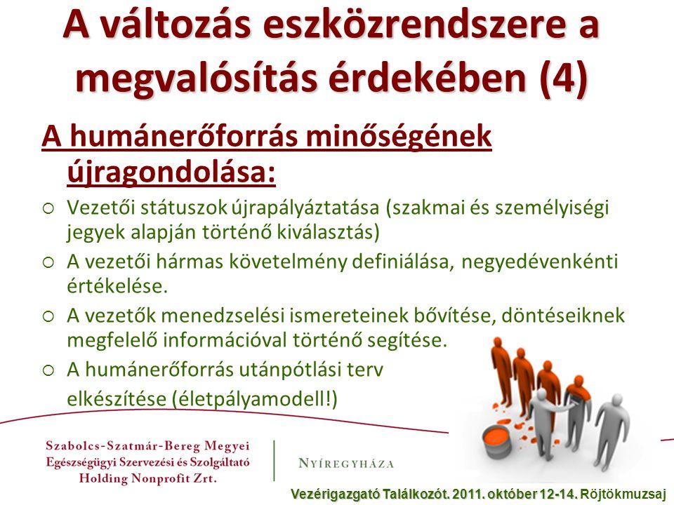 A változás eszközrendszere a megvalósítás érdekében (5) Átgondolt, napi kommunikáció: - A betegekkel - A dolgozókkal - A politikusokkal Vezérigazgató Találkozót.