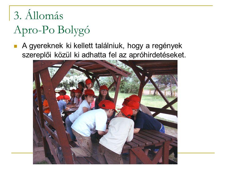 3. Állomás Apro-Po Bolygó  A gyereknek ki kellett találniuk, hogy a regények szereplői közül ki adhatta fel az apróhirdetéseket.
