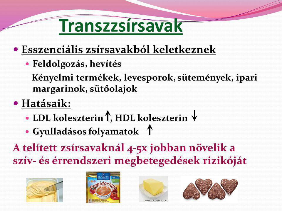 Transz-zsírsavak - Az összenergia-bevitel 2%-ának megfelelő, azaz már 5 g/nap transz-zsírsav bevitel 25%-kal növeli a szív- és érrendszeri megbetegedések kockázatát.