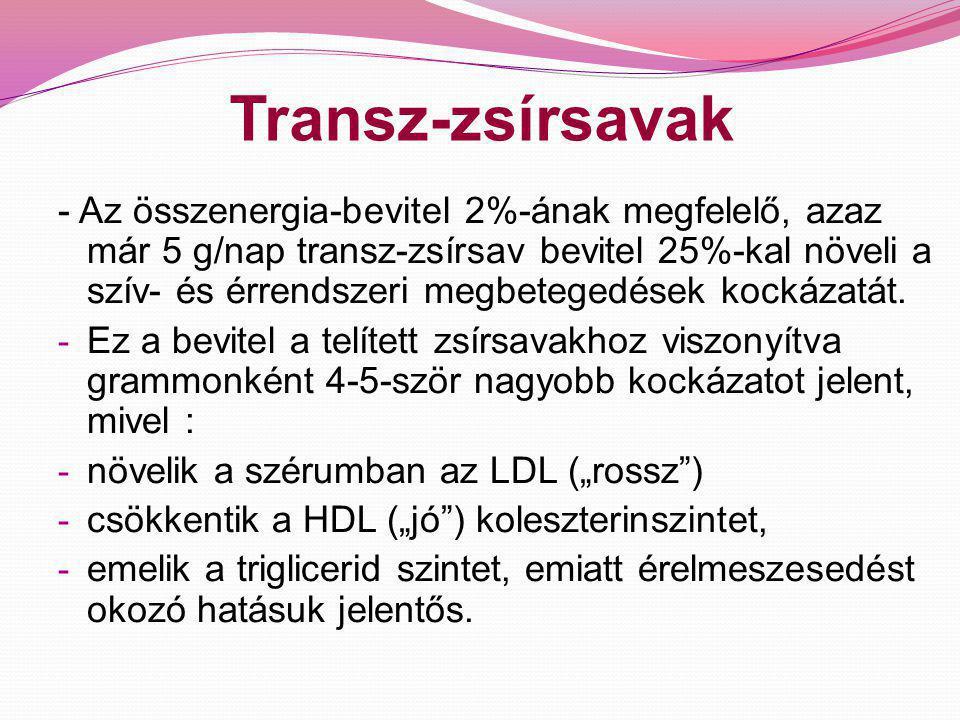 Transz-zsírsavak További megbetegedések és halálozások: -szisztémás gyulladások, vérérfal károsodás, hasi elhízás, inzulinrezisztencia, cukorbetegség; - egyes rosszindulatú daganatok, pl.: prosztata, vastagbél- daganatok kialakulásában, a szabad-gyök tulajdonságuk miatt (a szabadgyökök bizonyítottan sejtfalkárosító hatású molekulák); - a transz- zsírsavak arányának akár 2%-os növelése az étrendben 73%-kal növelte a női meddőséget (egy 18.555 fős mintán alapuló vizsgálat eredménye alapján); - Alzheimer kór - depresszió