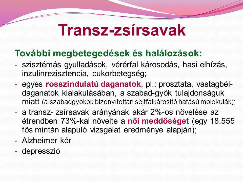 Transz-zsírsavak 3 A kérődző állatok (szarvasmarha, kecske, juh) tejében és húsában is megtalálható, természetes eredetű transz-zsírsavak esetében nem bizonyított, hogy ezek olyan kedvezőtlen egészséghatással rendelkeznének, mint az élelmiszeripari feldolgozás során képződő transz-zsírsavak.